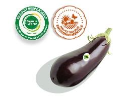Une aubergine accompagnée des logos des labels Haute Valeur Environnementale et Demain La Terre