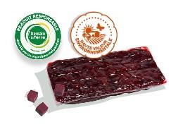 Sachet de betterave rouge découpée cuite sous-vide, accompagné des logos des labels Demain la Terre et HVE
