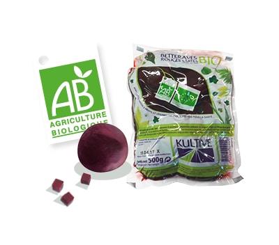 Sachet de betteraves rouges entières cuites sous-vide, accompagné du logo du label Agriculture Biologique