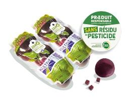 Sachets de betteraves rouges entières cuites sous-vide, accompagné des logos des labels Zéro Résidu de Pesticide
