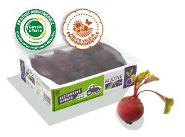 Boite en carton contenant des betteraves rouges fraiches et entières, cuite ou crue, accompagnée des logos des labels Demain la Terre et HVE