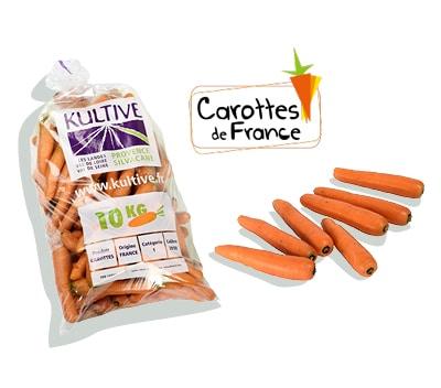 Sachet de carottes de 10 kg, accompagné du logo du label Carottes de France