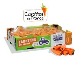 Cagette en carton contenant 12kg de carottes, calibre 30-40, accompagné du logo du label Carottes de France