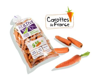 Sachet de carottes de 5 kg, accompagné du logo du label Carottes de France