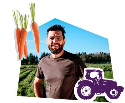 Portrait d'un producteur dans son champ de carotte