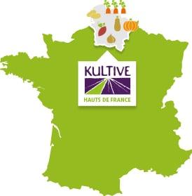 Carte de France présentant la culture des légumes des Hauts de France : carotte, patate douce, condiment, courge, pomme de terre.
