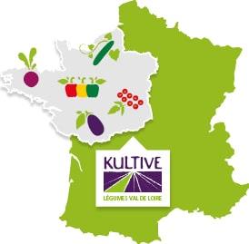 Carte de France présentant la culture des légumes du Val de Loire : betterave, poivron, aubergine, tomate et concombre.