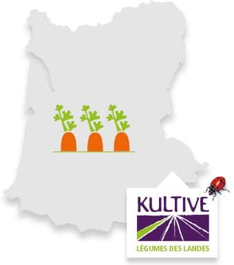 Carte du terroir des Landes, accompagné du picto carotte et du logo Kultive - Légumes des Landes