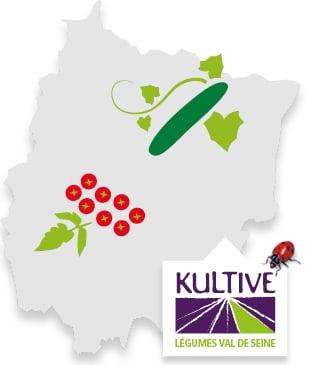 Carte du terroir de Val de Seine, accompagné des pictos concombre et tomate-cerise et du logo Kultive - Légumes Val de Seine