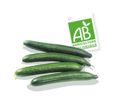 Concombres bio, accompagnés du logo du label Agriculture Biologique.