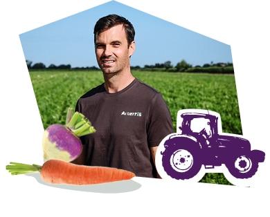 Portrait d'un producteur de légumes dans son champ