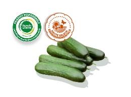 Mini-concombres accompagnées des logos des labels HVE et Demain La Terre.