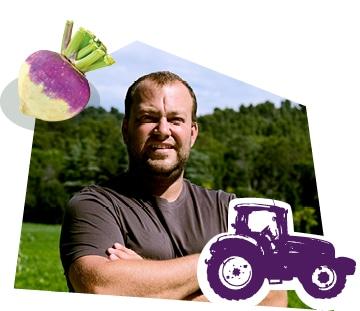 Portrait d'un producteur de navet dans son champ