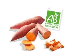 Patate douce bio Kultive, accompagnés du logo du label Agriculture Biologique