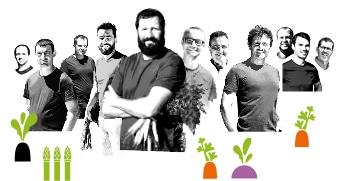 Portrait des producteurs Kultive de Provence, avec des dessins de leur production de radis noir, asperge, carotte, et navet.