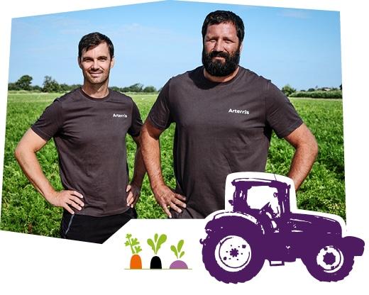 Portrait de deux producteurs de légumes de plein champ de Provence, accompagné d'un dessin de tracteur et des pictos carotte, radis noir et navet.