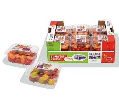 Cagette en carton, contenant les barquettes de tomates-cerises duo rondes et allongée.