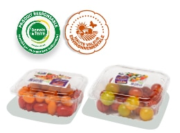 Barquettes de tomates-cerises duo rondes et allongée, accompagnés des logos des labels HVE et Demain La Terre.