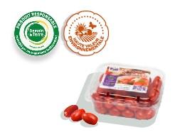 Barquette de tomates-cerises rouges et allongées, accompagnée des logos des labels Haute Valeur Environnementale et Demain La Terre.