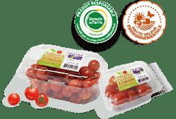 Barquettes de tomates-cerises rouges et rondes, accompagnées des logos des labels HVE et Demain La Terre.