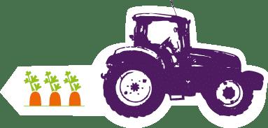 Dessin du tracteur et des carottes de plein champ Kultive